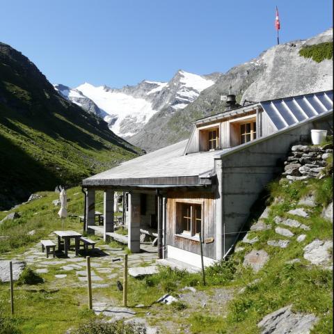 Länta Hütte mit Rheinwaldhorn/Piz Adula